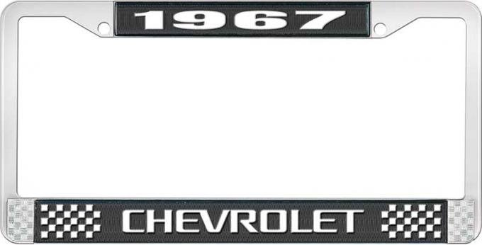 OER 1967 Chevrolet Style #3 Black and Chrome License Plate Frame with White Lettering LF2236703A