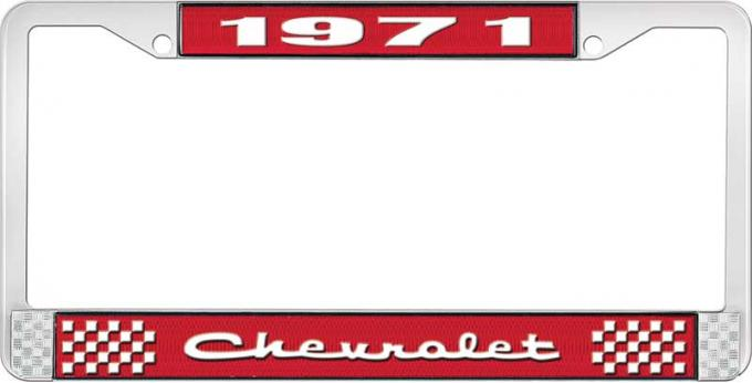OER 1971 Chevrolet Style # 2 Red and Chrome License Plate Frame with White Lettering LF2237102C
