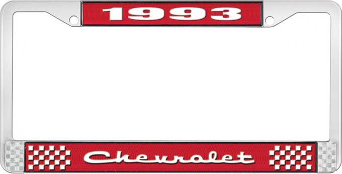 OER 1993 Chevrolet Style # 2 Red and Chrome License Plate Frame with White Lettering LF2239302C