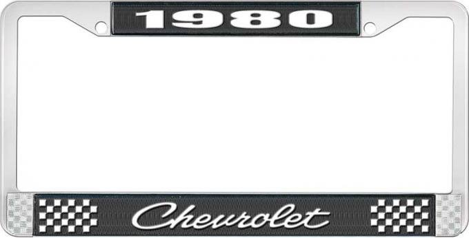 OER 1980 Chevrolet Style # $ Black and Chrome License Plate Frame with White Lettering LF2238004A