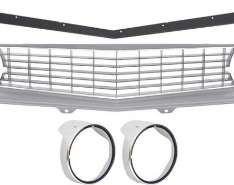 OER 1969 Camaro Restorer's Choice Standard Silver Grill Kit with Headlamp Bezels with Chrome Ring *R5028H