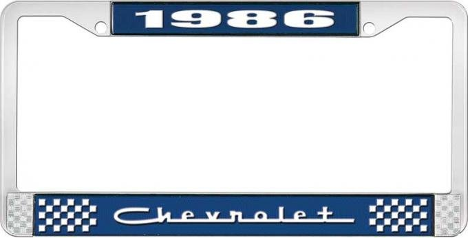 OER 1986 Chevrolet Style # 5 Blue and Chrome License Plate Frame with White Lettering LF2238605B