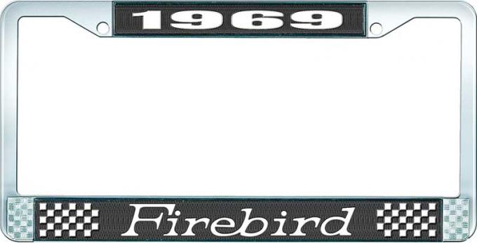 OER 1969 Firebird License Plate Frame - Black and Chrome with White Lettering LF2316901A
