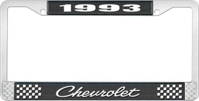 OER 1993 Chevrolet Style # 4 Black and Chrome License Plate Frame with White Lettering LF2239304A