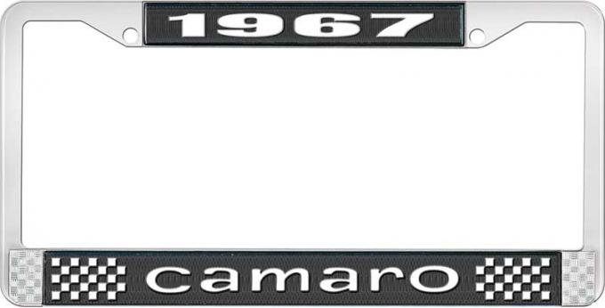 OER 1967 Camaro Style #1 License Plate Frame - Black and Chrome with White Lettering LF3536701A