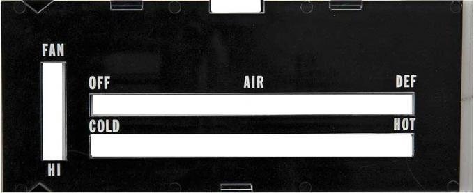 OER 1970-72 Camaro, Heater Control Lens, with Black Backing Paper, without AC A9600108