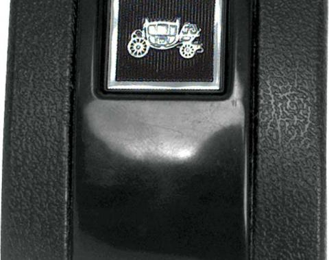 OER 1966-67 Black Standard Interior Seat Belt Cover with Fisher Coach Emblem K883F
