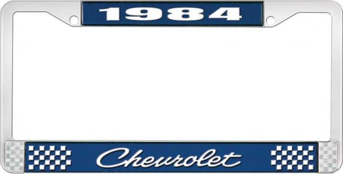 OER 1984 Chevrolet Style # 4 Blue and Chrome License Plate Frame with White Lettering LF2238404B