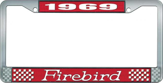 OER 1969 Firebird License Plate Frame - Red and Chrome with White Lettering LF2316901C