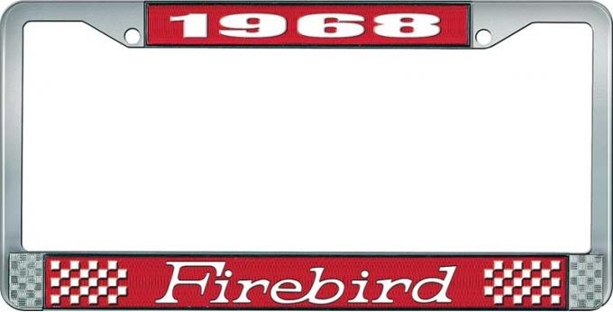 OER 1968 Firebird License Plate Frame - Red and Chrome with White Lettering LF2316801C