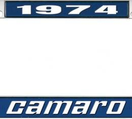 OER 1974 Camaro Style #2 License Plate Frame - Blue and Chrome with White Lettering *LF3537402B