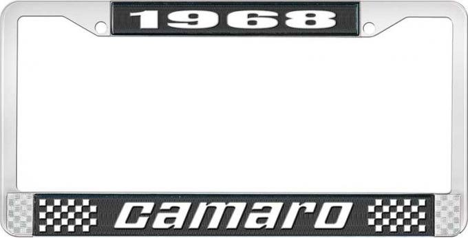 OER 1968 Camaro Style #2 License Plate Frame - Black and Chrome with White Lettering LF3536802A