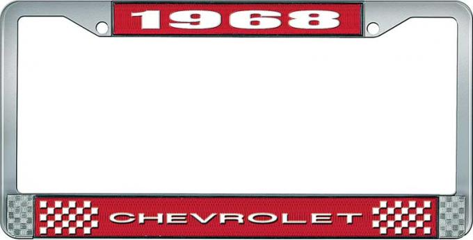 OER 1968 Chevrolet Style #1 Red and Chrome License Plate Frame with White Lettering LF2236801C