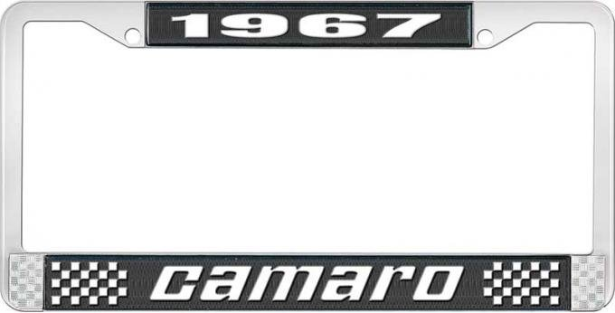 OER 1967 Camaro Style #2 License Plate Frame - Black and Chrome with White Lettering LF3536702A