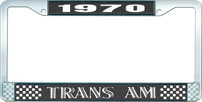OER 1970 Trans Am Style #1 License Plate Frame - Black and Chrome with White Lettering LF2327001A