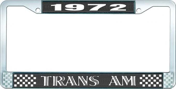 OER 1972 Trans Am Style #1 License Plate Frame - Black and Chrome with White Lettering LF2327201A
