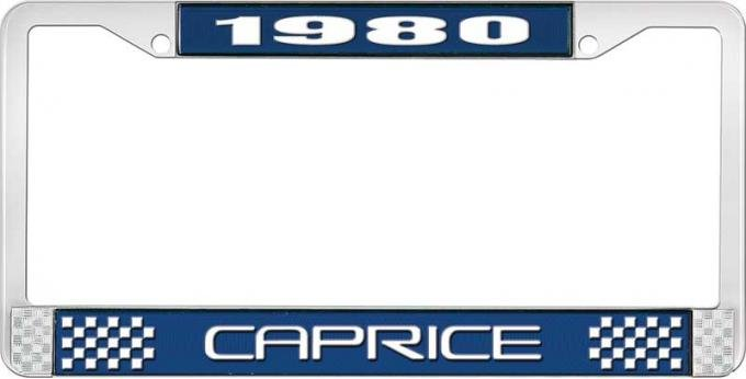 OER 1980 Caprice Style #2 Blue and Chrome License Plate Frame with White Lettering LF2278002B