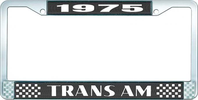 OER 1975 Trans Am Style #2 License Plate Frame Black and Chrome with White Lettering LF2337501A