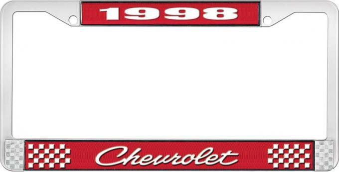 OER 1998 Chevrolet Style # 4 Red and Chrome License Plate Frame with White Lettering LF2239804C