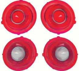 OER 1971-73 Camaro Standard Tail Lamp/Back Up Lens Kit without Chrome Trim Ring (2nd Design) *R529
