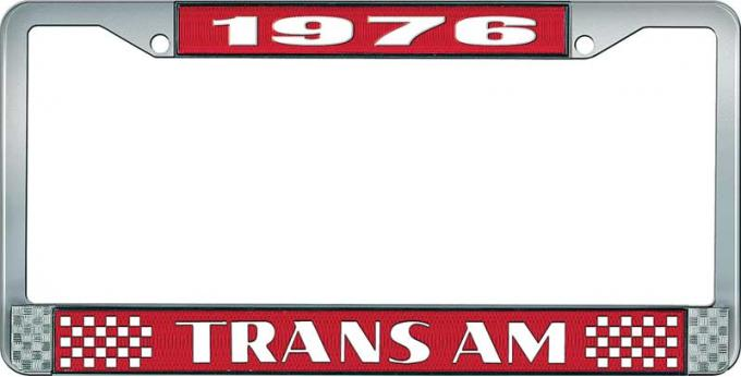 OER 1976 Trans Am Style #2 License Plate Frame Red and Chrome with White Lettering LF2337601C