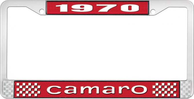OER 1970 Camaro Style #1 License Plate Frame - Red and Chrome with White Lettering LF3537001C