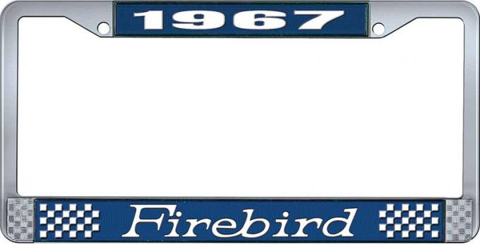 OER 1967 Firebird License Plate Frame - Blue and Chrome with White Lettering LF2316701B