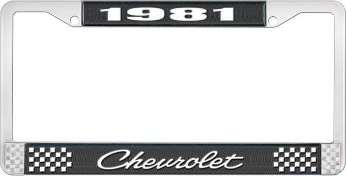 OER 1981 Chevrolet Style # 4 Black and Chrome License Plate Frame with White Lettering LF2238104A
