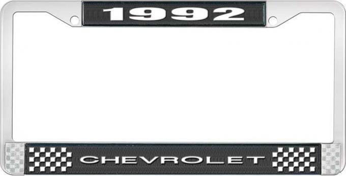 OER 1992 Chevrolet Style # 1 Black and Chrome License Plate Frame with White Lettering LF2239201A