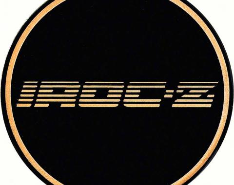 "OER 2-1/8"" GTA Wheel Center Cap Emblem with Gold IROC-Z Logo and Black Background K151769GD"