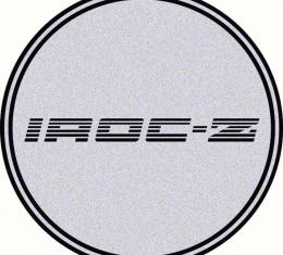 "OER 2-1/2"" Wheel Center Cap Emblem with Black IROC-Z Logo on a Silver Background K151713SV"