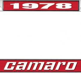 OER 1978 Camaro Style #2 License Plate Frame - Red and Chrome with White Lettering *LF3537802C