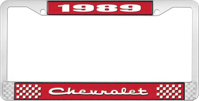 OER 1989 Chevrolet Style # 2 Red and Chrome License Plate Frame with White Lettering LF2238902C