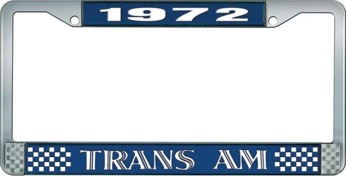 OER 1972 Trans Am Style #1 License Plate Frame - Blue and Chrome with White Lettering LF2327201B