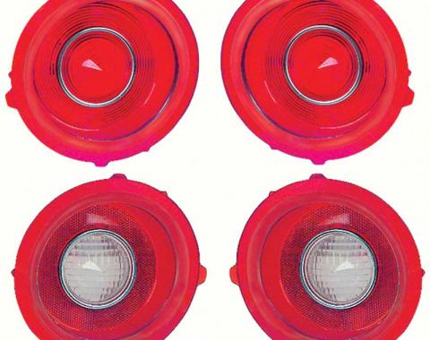 OER 1971-73 Camaro Standard Tail Lamp/Back Up Lens Kit without Chrome Trim Ring (2nd Design) *R529