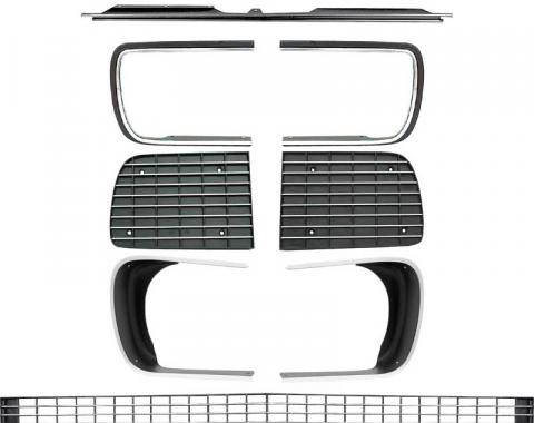 OER 1967-68 Camaro RS Restorer's Choice™ Grill Kit with Silver Trim / with Headlamp Bezels *R5027E