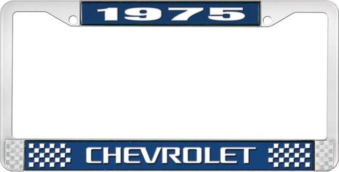 OER 1975 Chevrolet Style # 3 Blue and Chrome License Plate Frame with White Lettering LF2237503B