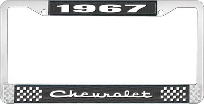 OER 1967 Chevrolet Style #2 Black and Chrome License Plate Frame with White Lettering LF2236702A