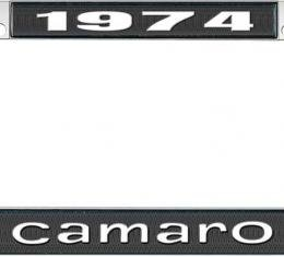 OER 1974 Camaro Style #1 License Plate Frame - Black and Chrome with White Lettering *LF3537401A