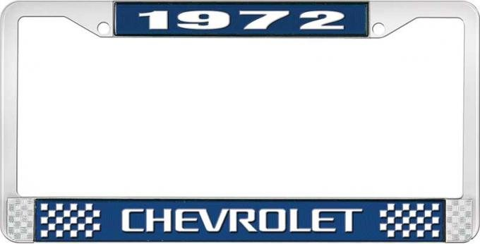 OER 1972 Chevrolet Style # 3 Blue and Chrome License Plate Frame with White Lettering LF2237203B
