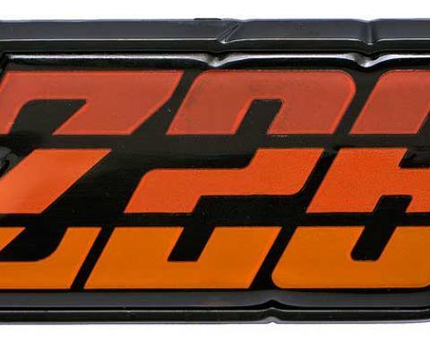 """OER 1980-81 Camaro """"Z28"""" Orange Fuel Door Emblem 9637809"""