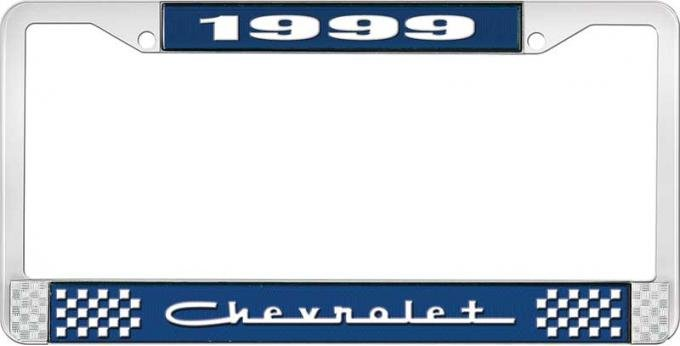 OER 1999 Chevrolet Style # 5 Blue and Chrome License Plate Frame with White Lettering LF2239905B