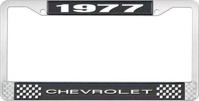 OER 1977 Chevrolet Style # 1 Black and Chrome License Plate Frame with White Lettering LF2237701A
