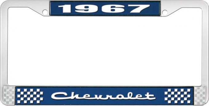 OER 1967 Chevrolet Style #2 Blue and Chrome License Plate Frame with White Lettering LF2236702B