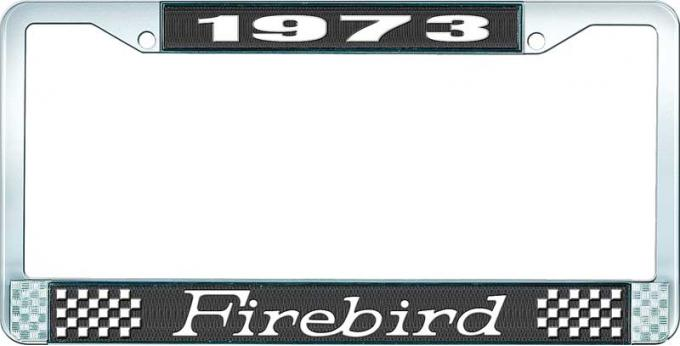 OER 1973 Firebird License Plate Frame - Black and Chrome with White Lettering LF2317301A