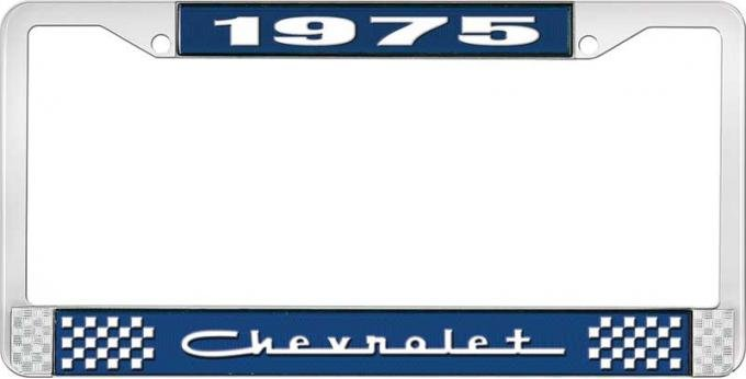 OER 1975 Chevrolet Style # 5 Blue and Chrome License Plate Frame with White Lettering LF2237505B