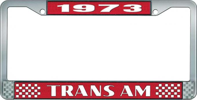 OER 1973 Trans Am Style #2 License Plate Frame Red and Chrome with White Lettering LF2337301C