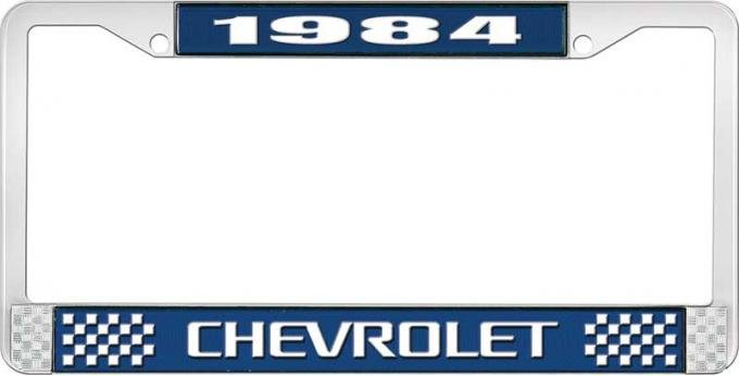 OER 1984 Chevrolet Style # 3 Blue and Chrome License Plate Frame with White Lettering LF2238403B