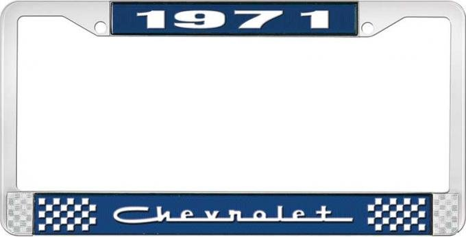 OER 1971 Chevrolet Style # 5 Blue and Chrome License Plate Frame with White Lettering LF2237105B