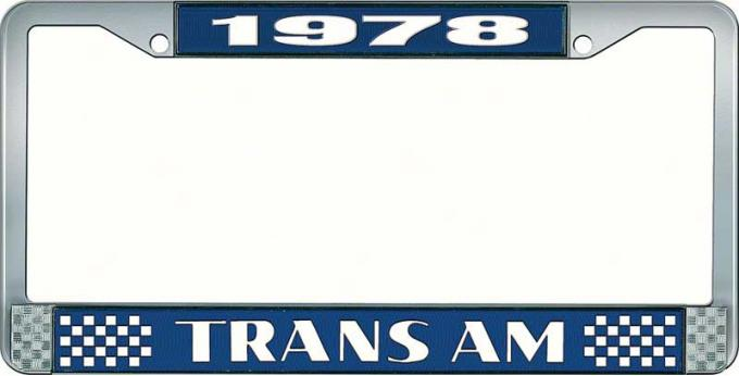 OER 1978 Trans Am Style #2 License Plate Frame Blue and Chrome with White Lettering LF2337802B